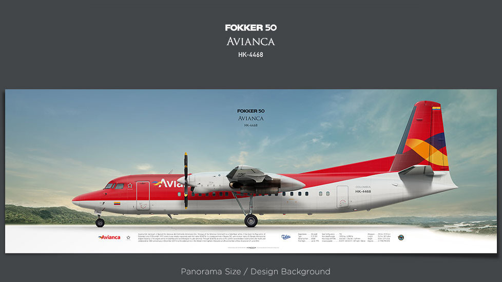 Fokker 50 Avianca, plane prints, retired pilot gift, aviation posters, airliners prints, turboprop, plane image, AVA