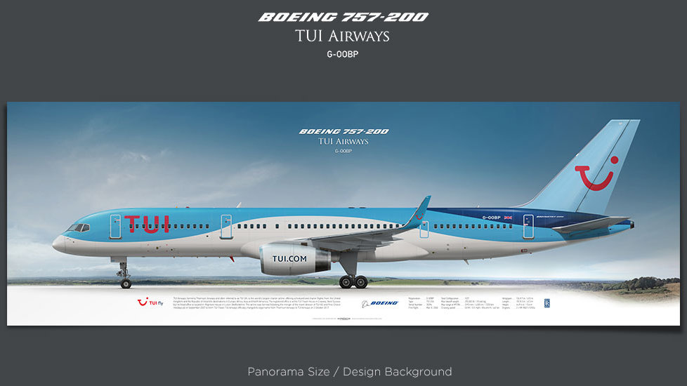 Boeing 757-200 TUI Airways, plane prints, retired pilot gift, aviation posters, airliners prints, jetliner, plane image, TOM