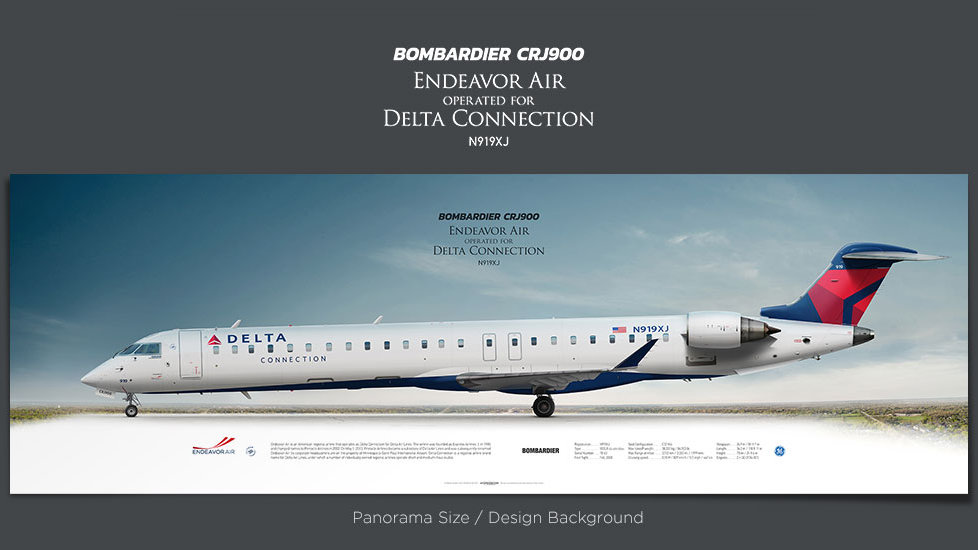 Bombardier CRJ900 Endeavor Air, gifts for pilots, aviation prints, aircraft posters, custom posters, retired pilot, delta air