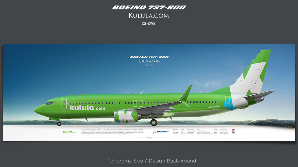 Boeing 737-800 Kulula, passenger jets posters, plane prints, retired pilot gift, aviation posters, airliners prints