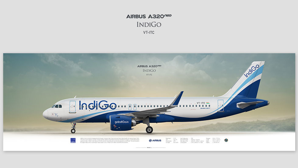 Airbus A320neo IndiGo, posterjetavia, profile prints, gift for pilots, aviation, airplane picture, airline