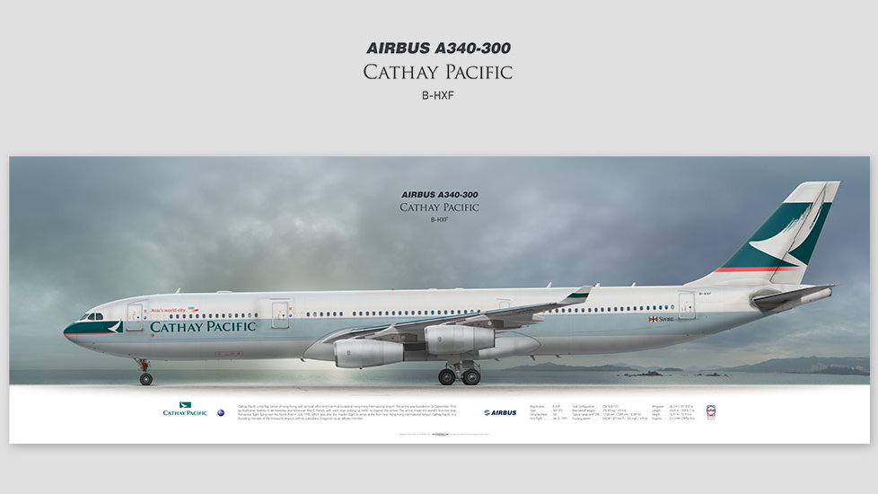 Airbus A340-300 Cathay Pacific, gift for pilots, aviation art prints, aircraft print, custom posters, airplane, retired pilot