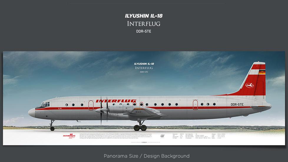 Ilyushin Il-18 Interflug, plane prints, retired pilot gift, aviation posters, vintage aircraft soviet plane, turboprop, IFL