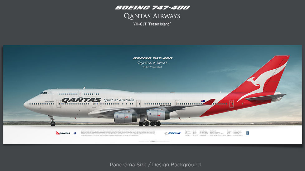 Boeing 747-400 Qantas Airways, plane prints, retired pilot gift, aviation posters, airliners prints