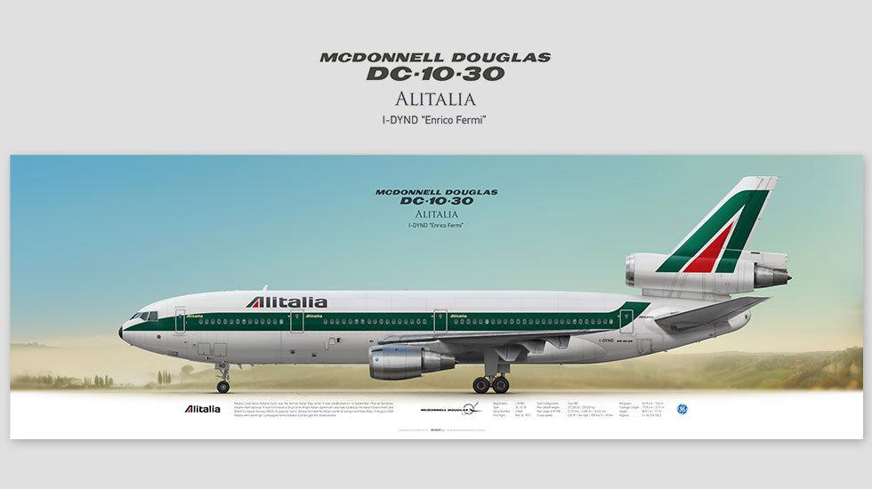 Mcdonnell Douglas DC-10-30 Alitalia, posterjetavia, profile prints, gift for pilots, aviation, airplane picture, airline