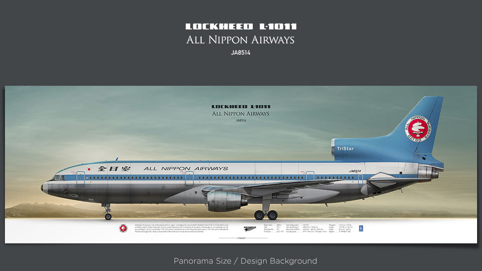 Lockheed L1011 All Nippon Airways, plane prints, retired pilot gift, aviation posters, airliners printsn, tristar, ANA