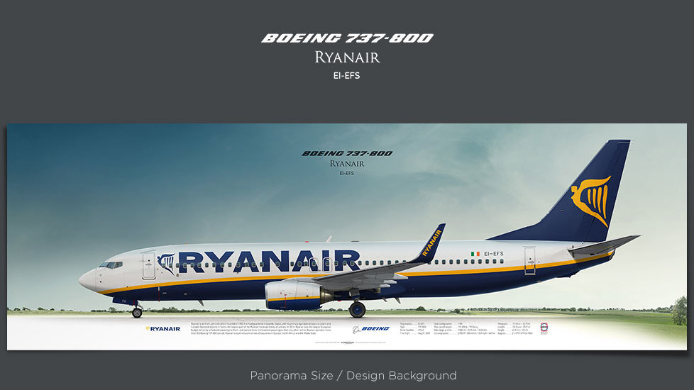 Boeing 737-800 Ryanair, gifts for pilots, aviation art prints, aircraft print, custom posters, plane picture, retired pilot
