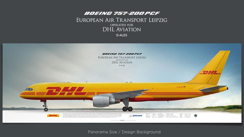 Boeing 757-200 PCF European Air Transport Leipzig, DHL Aviation, EAT, BCS, plane prints, retired pilot gift, aviation posters