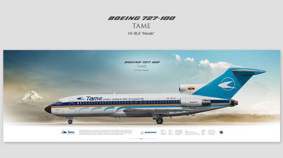 Boeing 727-100 TAME Ecuador, posterjetavia, airliners profile prints, gift for pilots