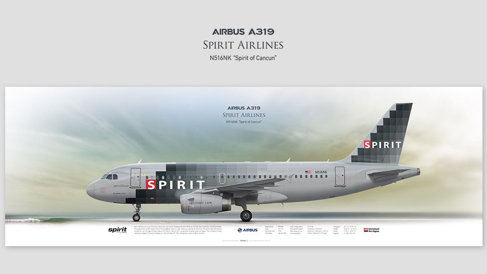 Airbus A319 Spirit Airlines, posterjetavia, airliners profile prints, gift for pilots