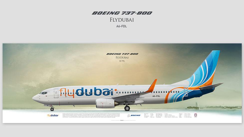 Boeing 737-800 Flydubai, posterjetavia, gifts for pilots, aviation, airliner, pilotlife, aviationdaily, aviationart