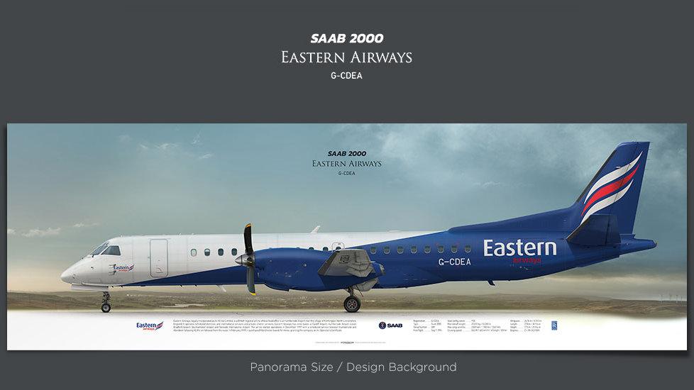 SAAB 2000 Eastern Airways, plane prints, airplane poster, retired pilot gift, airline prints, turboprop prints