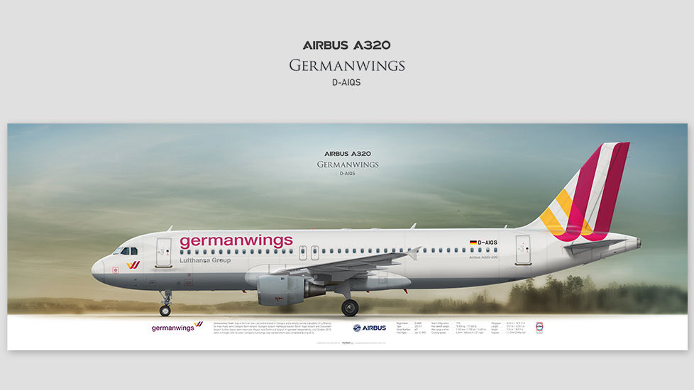 Airbus A320 Germanwings, posterjetavia, airliners profile prints, gift for pilots