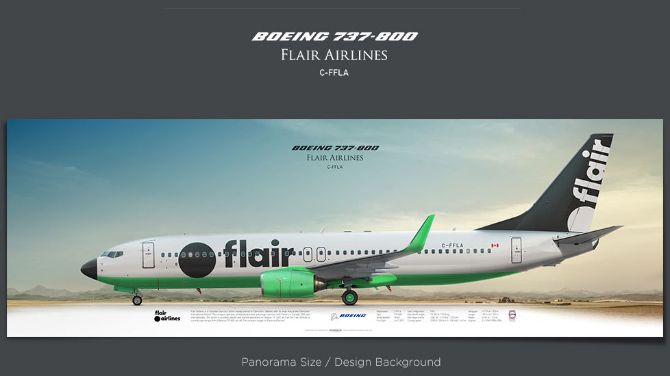 Boeing 737-800 Flair Airlines, plane prints, retired pilot gift, aviation posters, airliners prints, jetliner, FLE