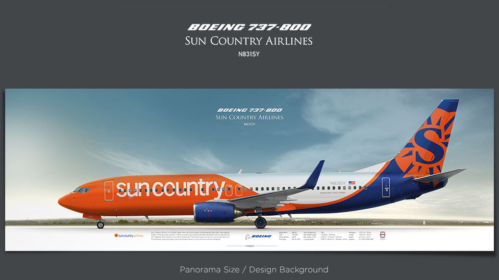 Boeing 737-800 Sun Country Airlines, plane prints, retired pilot gift, aviation posters for sale, jetliner prints, SCX