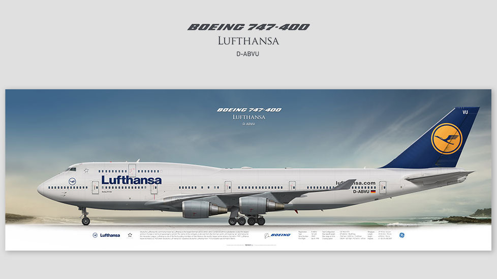Boeing 747-400 Lufthansa, posterjetavia, gifts for pilots, aviation, aviation art, avgeek, airplane pictures, DLH