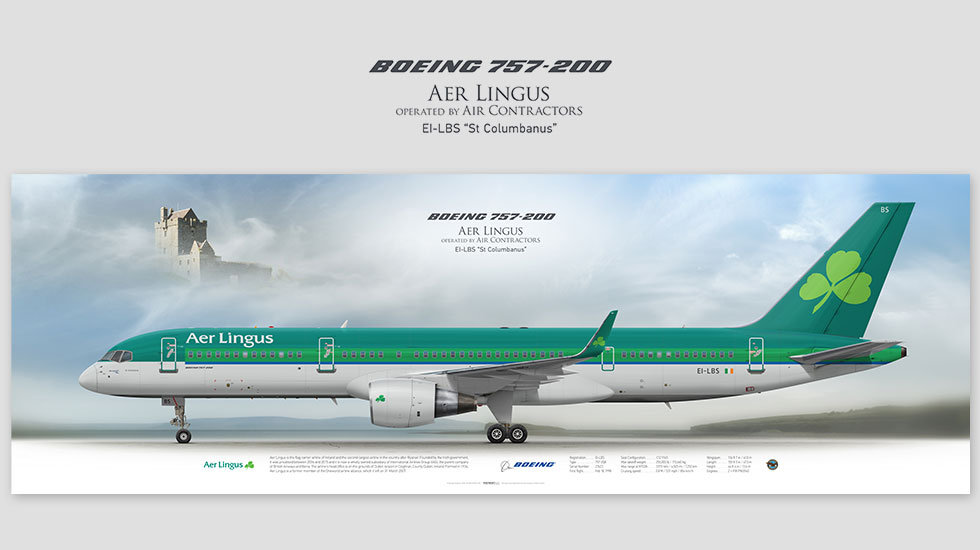 Boeing 757-200 Aer Lingus, posterjetavia, airliners profile prints, aviation collectibles prints