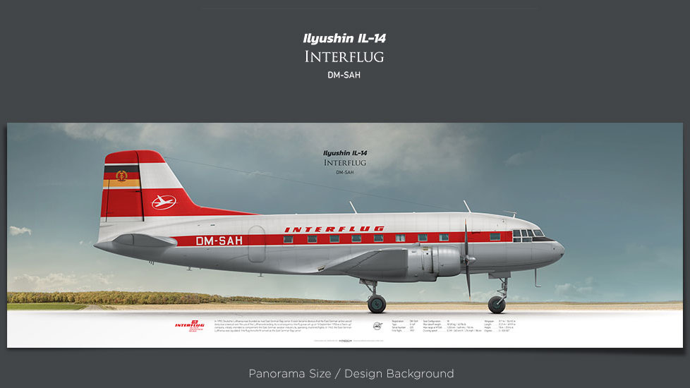 Ilyushin Il-14 Interflug, plane prints, retired pilot gift, aviation posters, retro aircraft,soviet airplane, vintage airline
