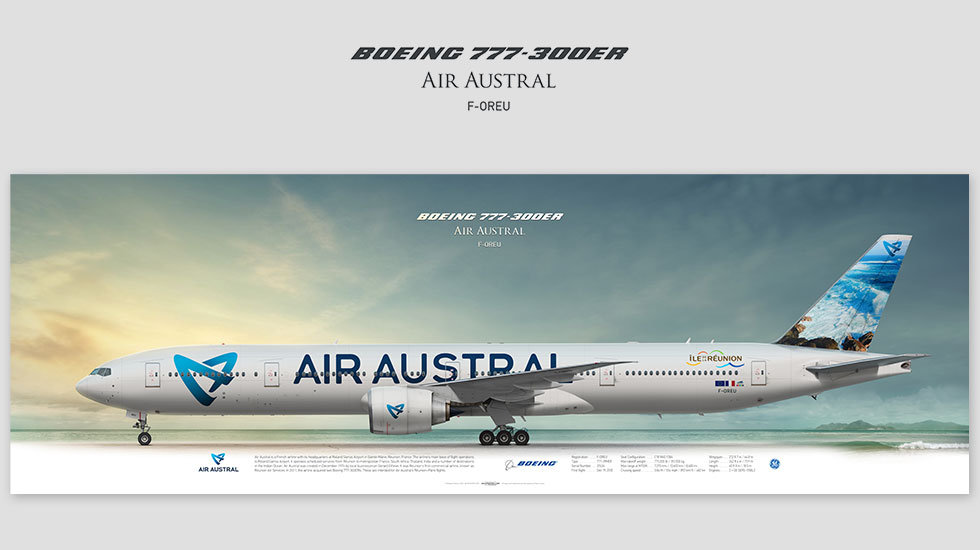 Boeing 777-300ER Air Austral, gift for pilots, aviation prints, avia poster, aircraft profile art prints, Reunion