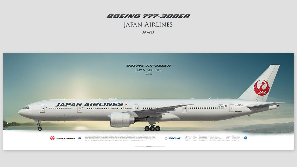 Boeing 777-300ER Japan Airlines, gift for pilots, aviation art prints, aircraft print, custom posters, plane picture, JAL