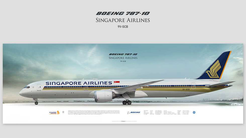 Boeing 787-10 Singapore Airlines, gifts for pilots, aviation prints, aircraft posters, custom posters, retired pilot, SIA