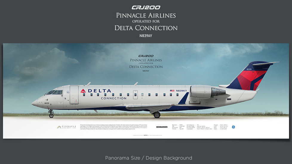 Bombardier CRJ200 Pinnacle Airlines, Delta Connection, plane prints, retired pilot gift, aviation posters, airliners prints