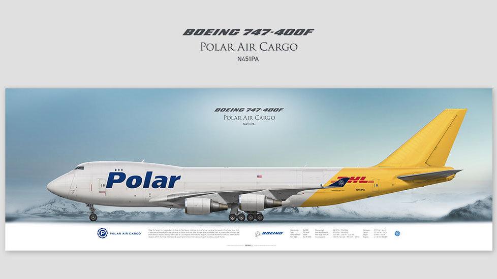 Boeing 747-400F Polar Air Cargo, posterjetavia, profile prints, gift for pilots, aviation, jumbojet