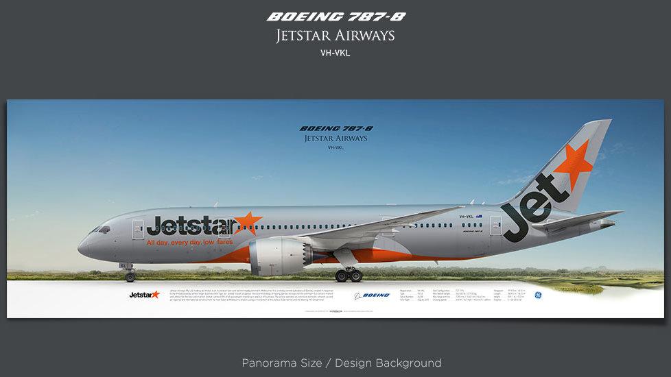 Boeing 787-8 Jetstar Airways, plane prints, retired pilot gift, aviation posters, airliners prints, dreamliner