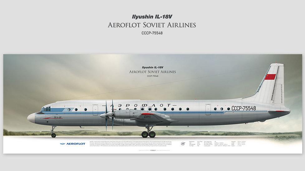 Ilyushin Il-18V Aeroflot, gift for pilots, aviation art prints, aircraft poster, custom posters, plane picture, soviet plane