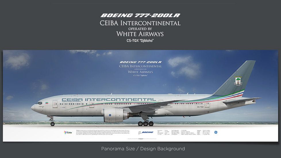Boeing 777-200LR CEIBA, gift for pilots, aviation art prints, aircraft poster, custom posters, plane picture, white airlines