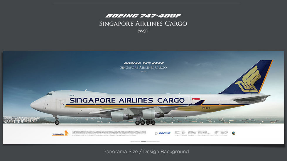 Boeing 747-400F Singapore Airlines Cargo, gifts for pilots, aviation prints, aircraft posters, custom posters, retired pilot