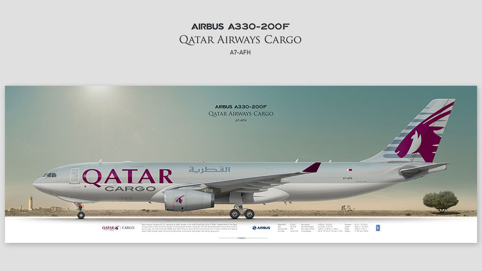 Airbus A330-200F Qatar Airways Cargo, gifts for pilots, aviation art prints, aircraft print, custom posters, plane picture