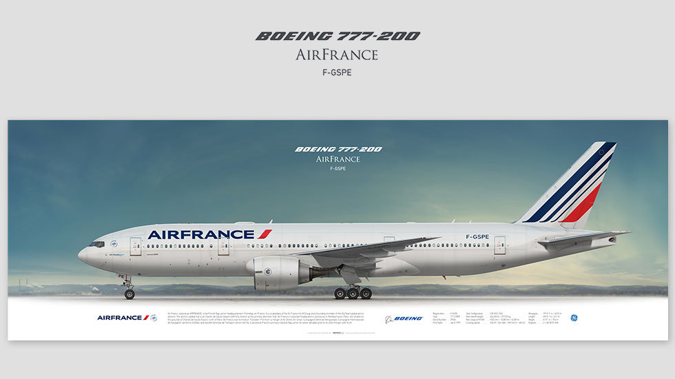 Boeing 777-200 Air France, posterjetavia, profile prints, gift for pilots, aviation, airplane picture, airline