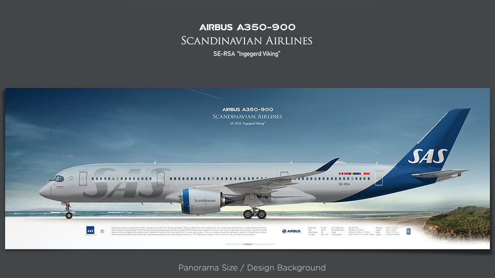 Airbus A350-900 Scandinavian Airlines, plane prints, retired pilot gift, aviation posters, A350XWB, airliner prints, SAS