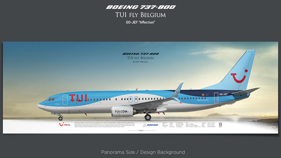 Boeing 737-800 TUI fly Belgium, plane prints, retired pilot gift, aviation posters, airliners prints, plane image, JAF