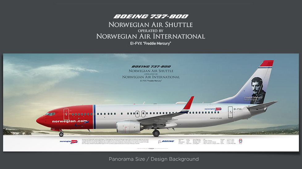 Boeing 737-800 Norwegian, gifts for pilots, aviation prints, aircraft posters, custom posters, retired pilot, b737 poster