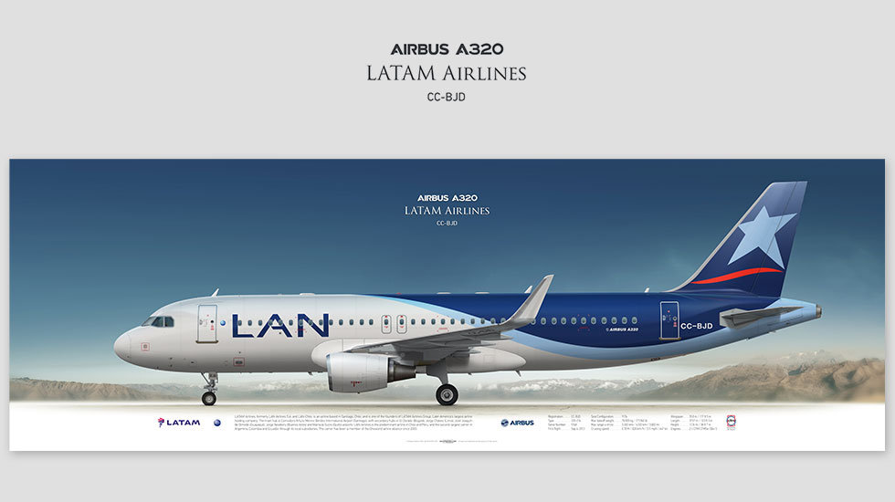 Airbus A320 LATAM Airlines, gift for pilots, aviation prints, pilot wall decor, avia poster, aircraft profile prints, LAN