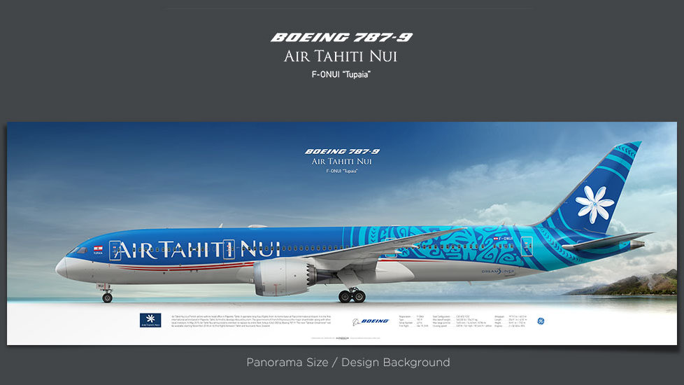 Boeing 787-9 Air Tahiti Nui, plane prints, airplane poster, retired pilot gift, airline prints, jetliner prints, dreamliner