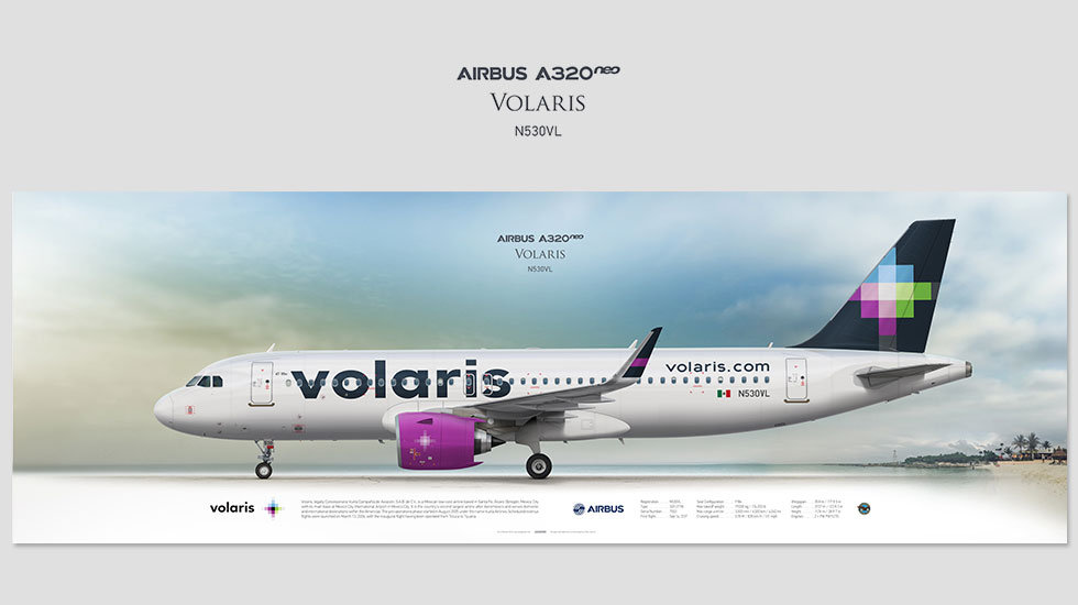 Airbus A320neo Volaris, posterjetavia, airliners profile prints, aviation collectibles prints