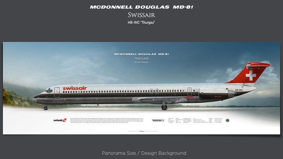 McDonnell Douglas MD-81 Swissair, plane prints, retired pilot gift, aviation posters, airliners prints, ttail, jetliner
