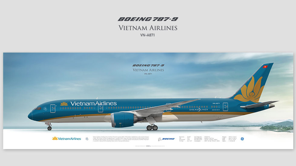 Boeing 787-9 Vietnam Airlines, posterjetavia, airliners profile prints, aviation collectibles prints