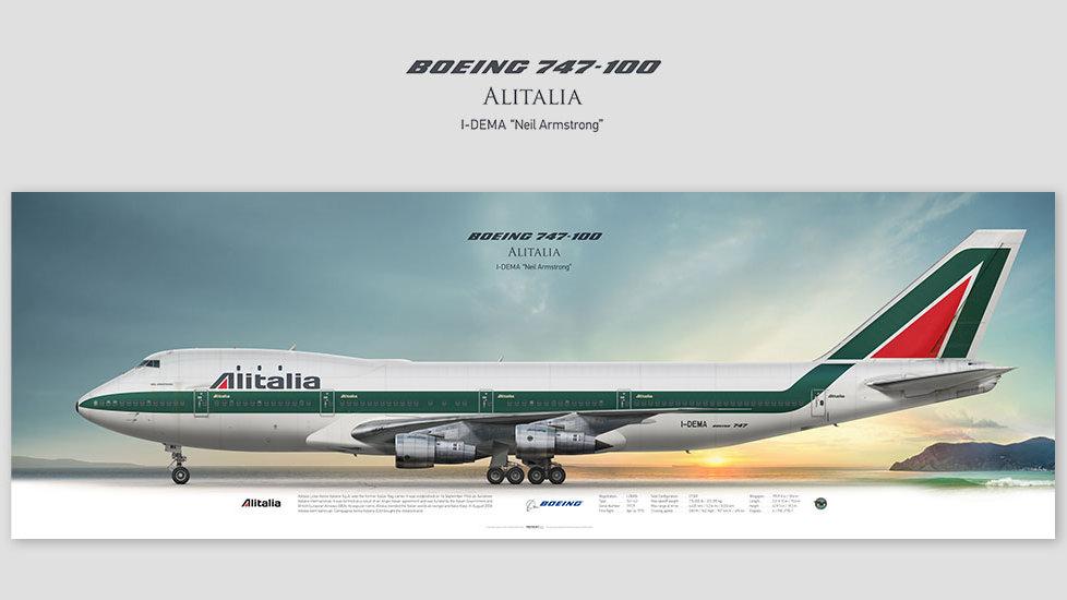 Boeing 747-100 Alitalia, posterjetavia, gifts for pilots, aviation, aviation art , avgeek, airplane pictures, jumbojet