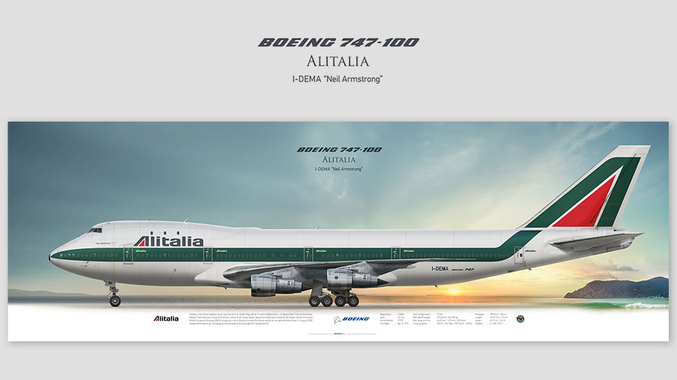 Boeing 747-100 Alitalia, posterjetavia, gifts for pilots, aviation, aviation art , avgeek, airplane pictures, jumbojet