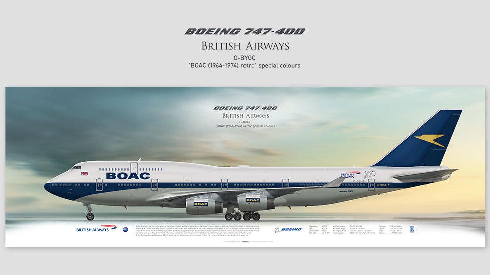 Boeing 747-400 British Airways BOAC , posterjetavia, profile prints, gift for pilots, aviation