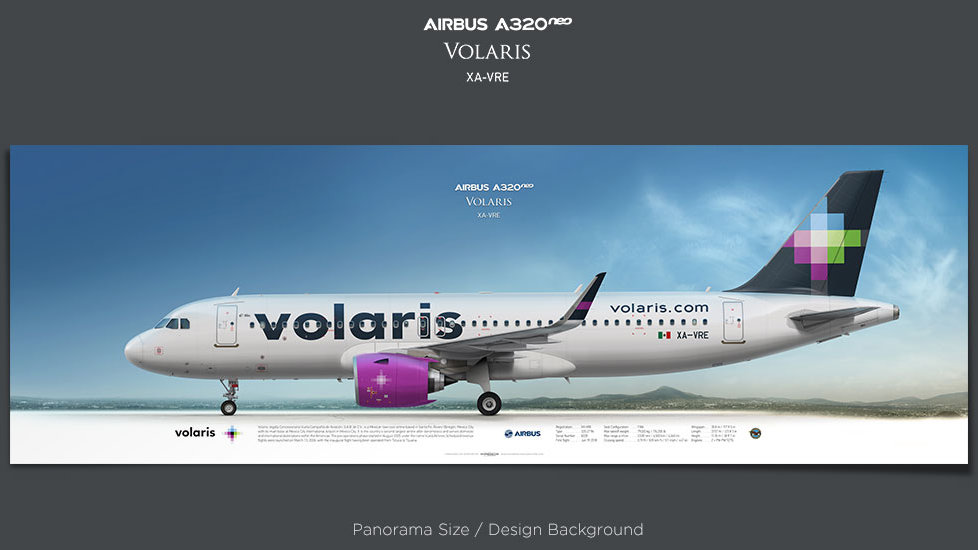 Airbus A320neo Volaris, plane prints, retired pilot gift, aviation posters, airliners prints, civil aircraft, VOI