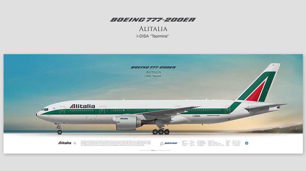 Boeing 777-200ER Alitalia, posterjetavia, profile prints, gift for pilots, aviation, airplane picture, airline
