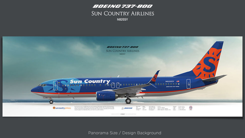 Boeing 737-800 Sun Country Airlines, SCX, plane prints, retired pilot gift, aviation poster, airliners prints, civil aircraft