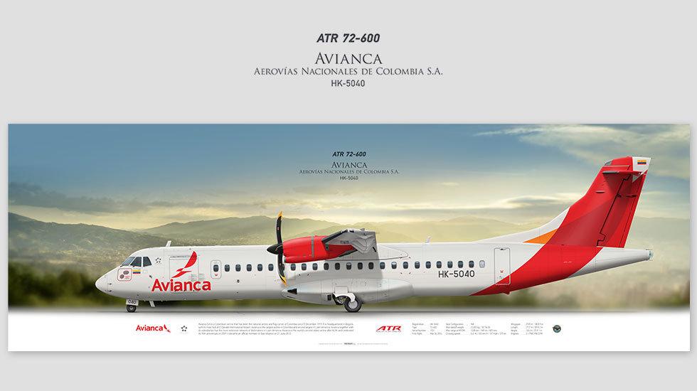 ATR 72-600 Avianca, posterjetavia, gifts for pilots, aviation, airliner, pilotlife, aviationdaily, aviationart
