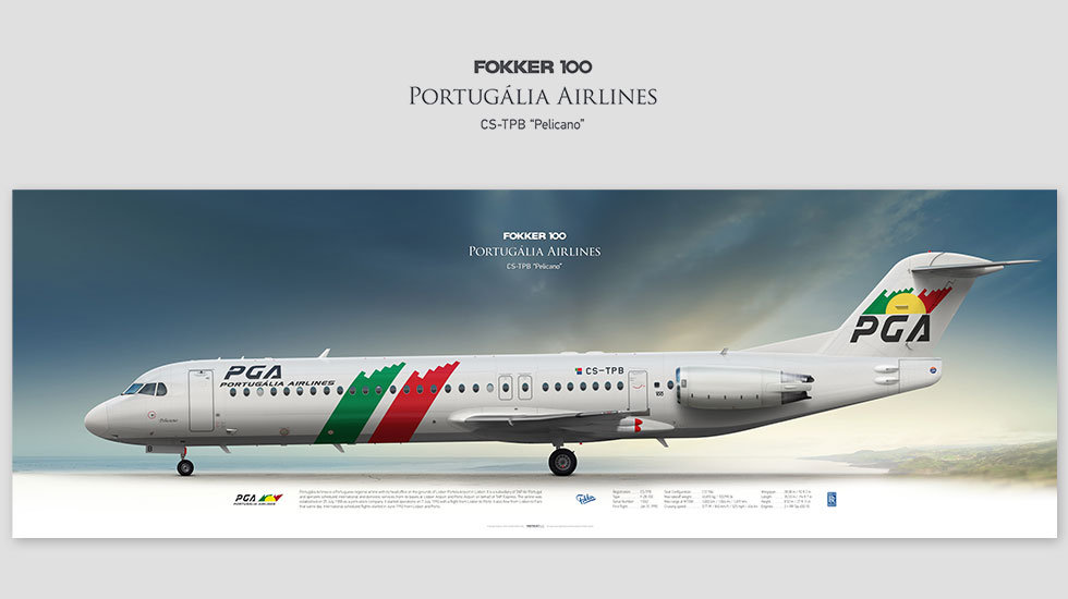Fokker 100 Portugália Airlines, posterjetavia, gifts for pilots, aviation, airplane picture, avgeek, profile prints