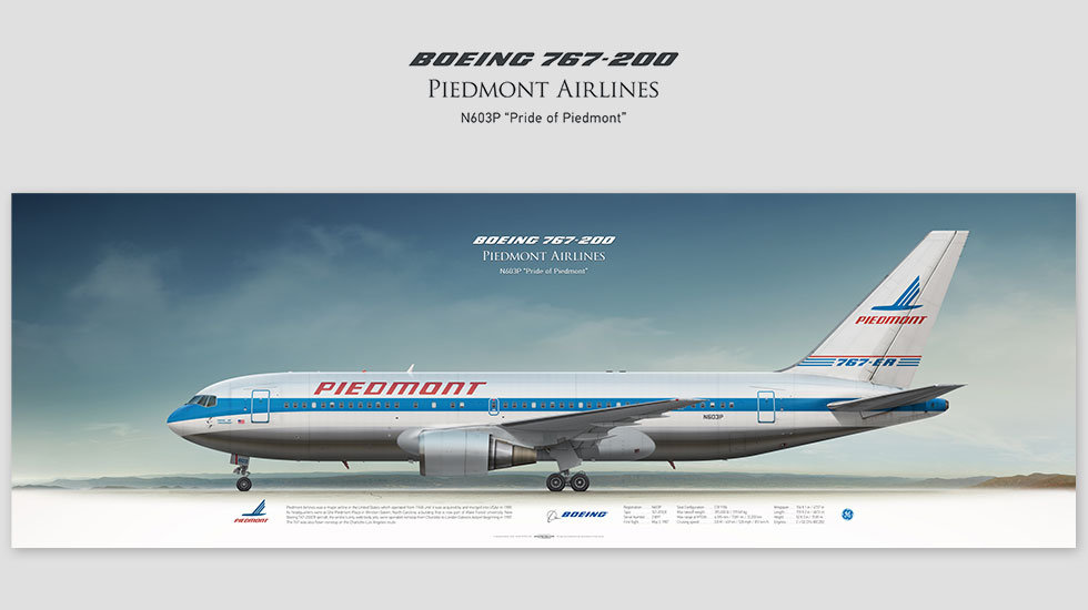 Boeing 767-200 Piedmont Airlines, gift for pilots, aviation prints, pilot wall decor, avia poster, aircraft profile prints
